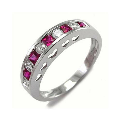 Platinum 950 Diamond and Ruby Heart Ring color F Clarity SI1  R1782.