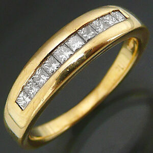 Low-set-10-Princes-cut-DIAMOND-18k-Solid-Yellow-GOLD-ETERNITY-RING-Sz-L1-2
