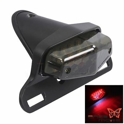 12V Lucas LED Taillight Tail Light License Plate Mount Holder For Harley Bobber