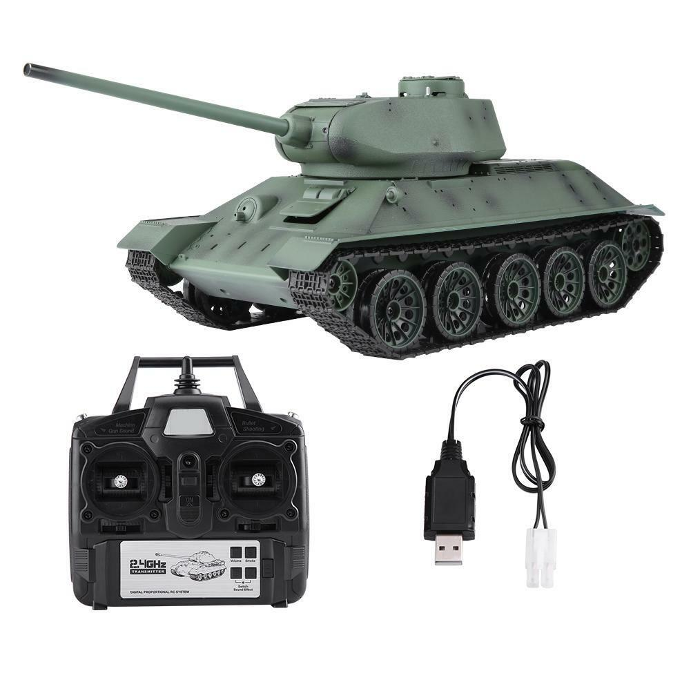 Henglong 3909-1 116 T-34 2.4GHz Control Remoto tanque tanque de modelo de simulación de alto