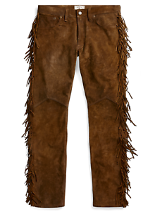 ,800 Double Ralph Lauren RRL Brown Western Limited Edition Suede Leather Pants
