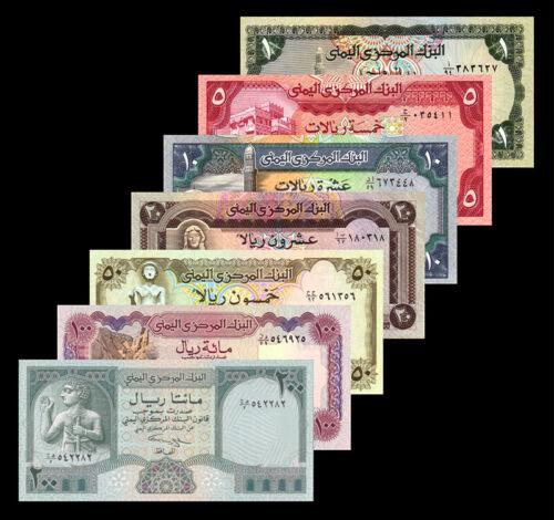 Set of 7Pcs Yemen 1+5+10+20+50+100+200 Rials,Random Year,Uncirculated