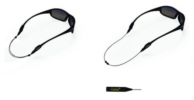 """14/"""" Black//Clear Cablz Zipz Colorz Sunglass Retainer"""