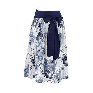 best cheap 40d2f 208a5 Details zu Rock Damen 2teilig Blau Blumen Knielang Weiß Schleife Stretch  Tellerrock