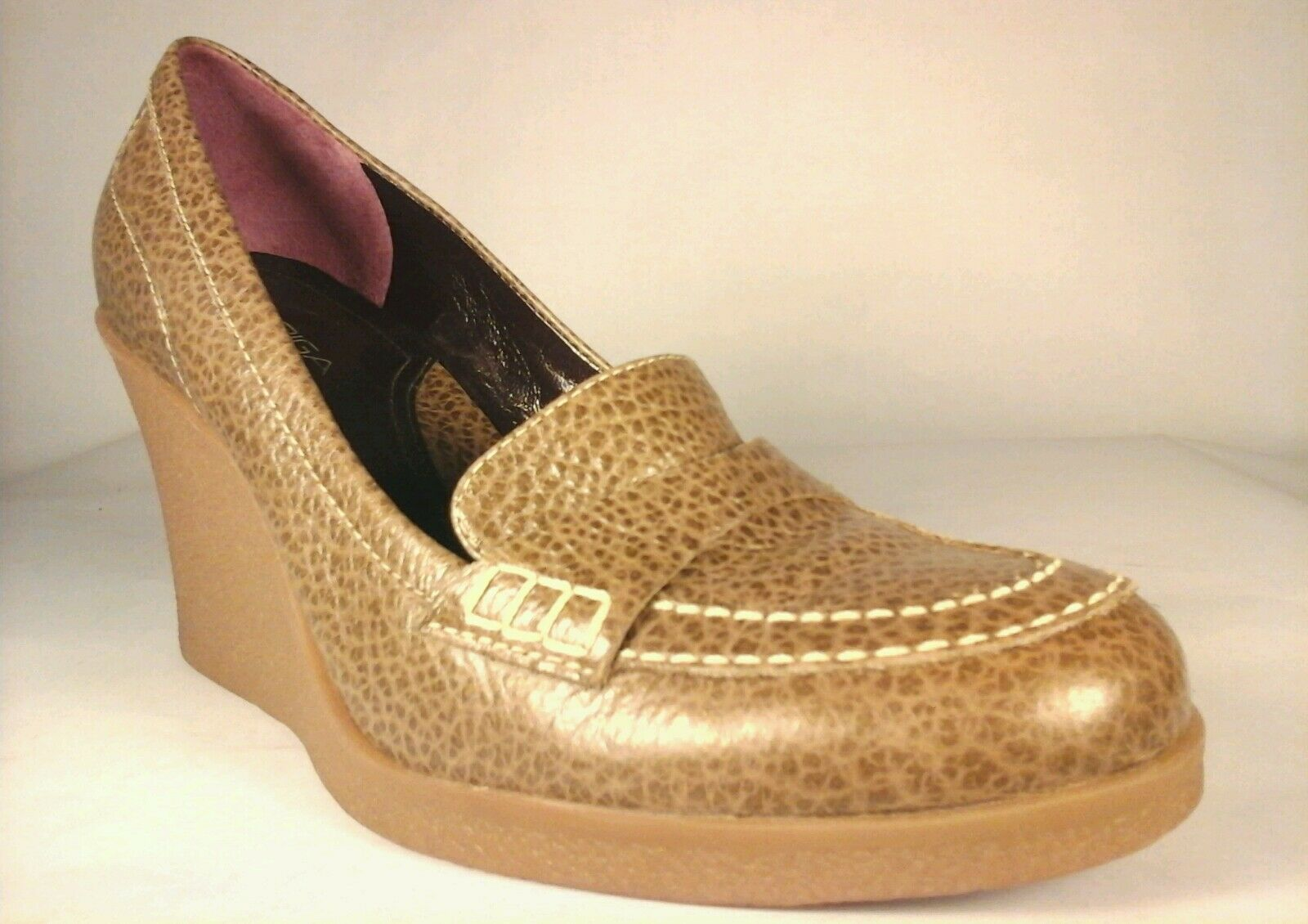 VIA SPIGA Wedges Loafers Taupe Leather Brown Leather Taupe Platform Shoes Women's US 6.5 $195 5f54dc
