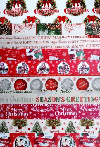Épais Papier Cadeau. Assortiment de 10 feuilles Noël Traditionnel Papier Cadeau