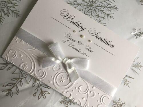 SAMPLE Embossed Wedding Or Evening Invitations   Handmade   Winter Theme