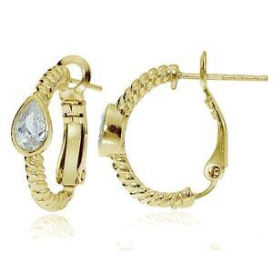 Gold-Tone-over-Sterling-Silver-Cubic-Zirconia-Teardrop-Oval-J-Hoop-Earrings