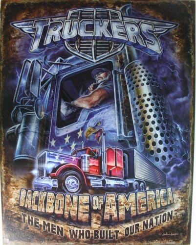 Tin Metal Sign Truckers backbone america semi tractor trailer peterbilt KW 2166
