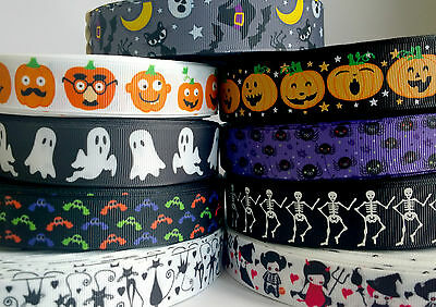 "✜ HALLOWEEN GROSGRAIN RIBBON 7/8"" 22mm Cake Decorations Bow Hair Party Costume ✜"