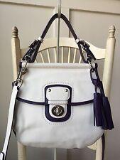 COACH 22409 Legacy Archival Two Tone White Plum Leather Willis Crossbody Satchel