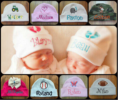 PERSONALIZED MONOGRAM CUSTOM Baby Girl Hospital Hat With Bow and Polka Dots GIFT