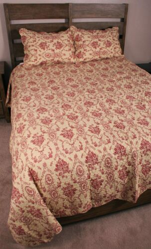 King Quilt Set Red Ecru French Country Floral Urn Toile Cotton Bedding