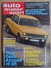 AUTO MOTOR UND SPORT 8.5 - 10/1971 * Opel Ascona 19 SR Jaguar GP-Spanien Stewart