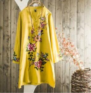 Womens-Fashion-Retro-Embroidered-3-4-Sleeves-Cotton-Ramie-Tunic-Blouse-Top