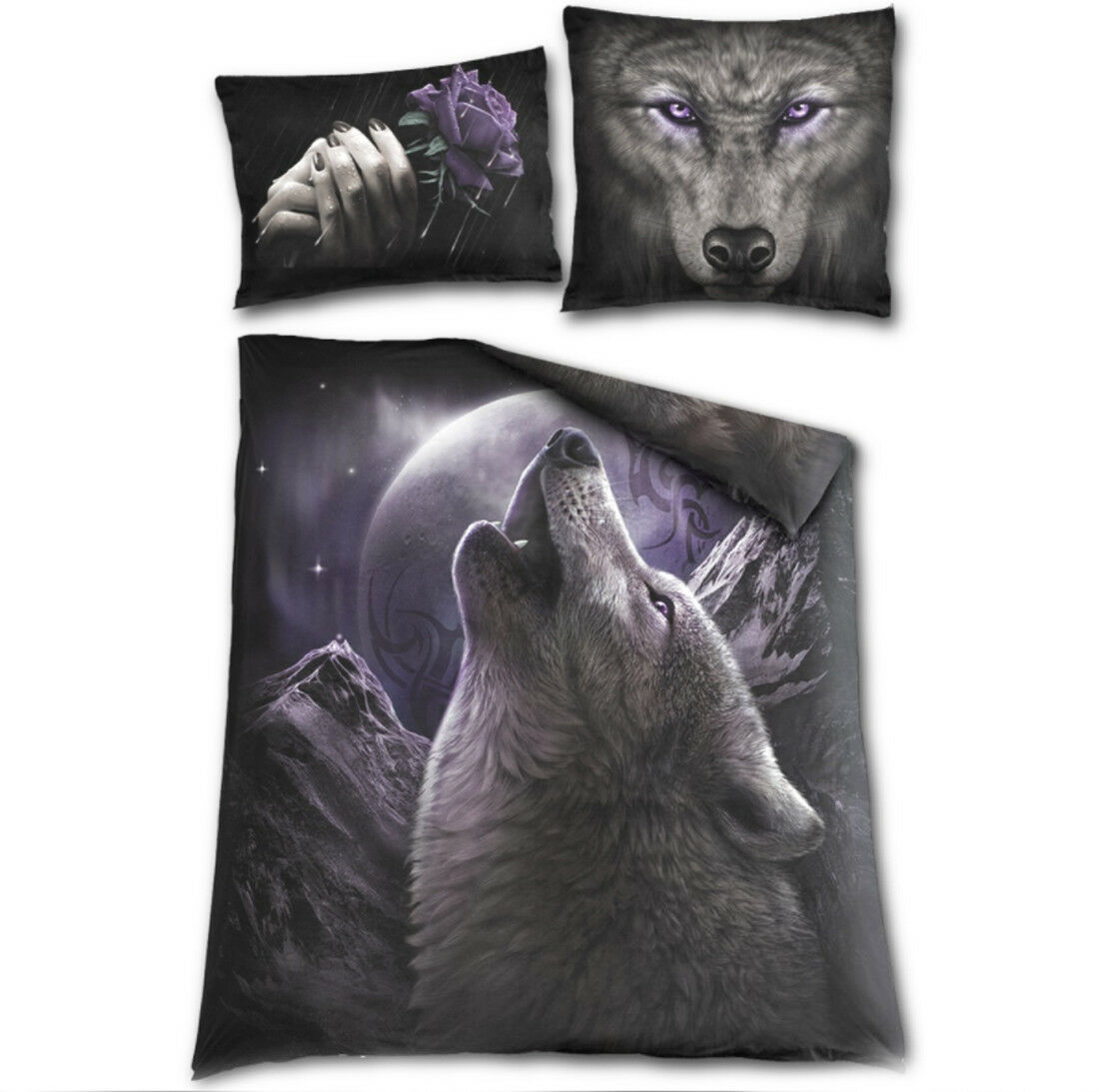 Spiral Direct - WOLF SOUL - Double sided Duvet Set - Double Bed   wolf, moon
