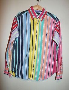 Boys-RALPH-LAUREN-Striped-Multicolor-Dress-Up-Easter-Button-Down-Shirt-S-8-10