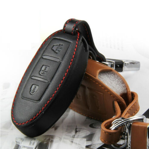 Leather Remote Key Fob Case Holder Cover Fit  Nissan QASHQAI TIIDA 3-Buttons GM