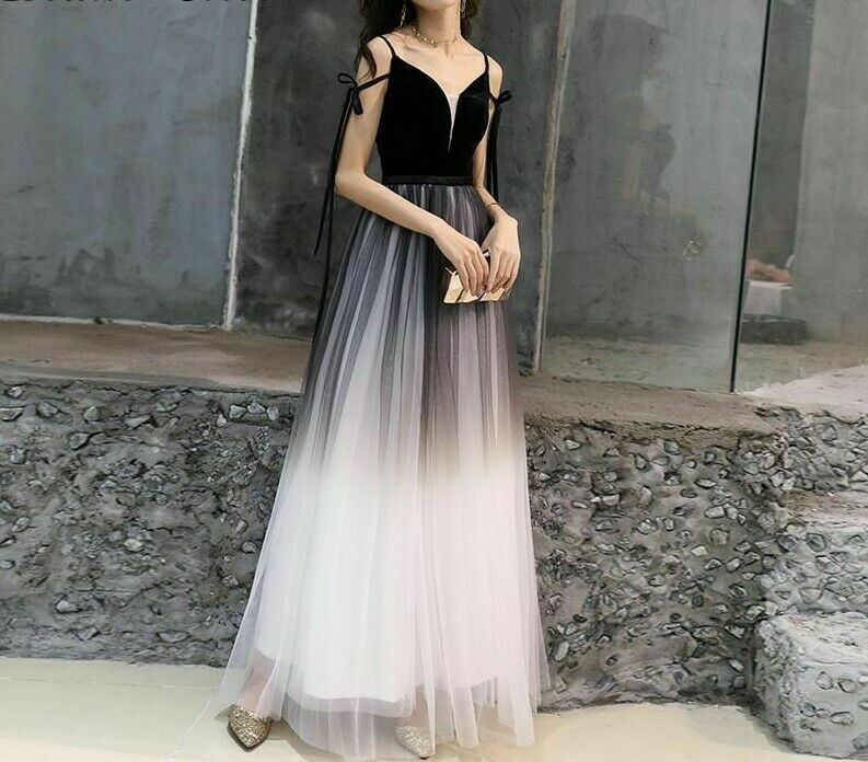 Long Prom Ladies Dress Tulle A Line Pkonsty Gowns Gradient elegant Formal Attire