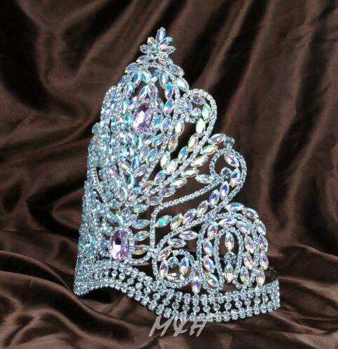 "Deluxe 9/"" Tiara Handmade Crown Pink/&Clear Rhinestones Headpiece Beauty Pageant"