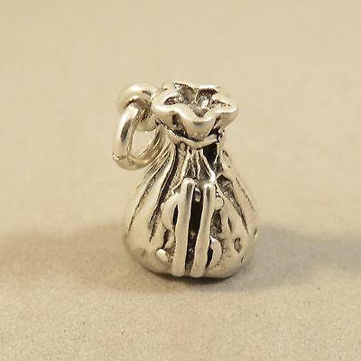 .925 Sterling Silver 3-D MONEY BAG W DOLLAR SIGN CHARM Pendant NEW 925 WK31