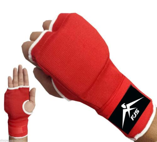 FJS New Boxing Gel Inner Gloves Hand Wraps Fist Padded Bandages MMA Red Color