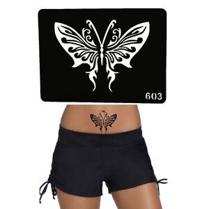 Henna-Tattoo-Schablone-Airbrush-Stencil-Selbstklebend-Schmetterling