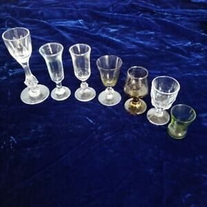 Lot of 7 Vintage 1970s mixed colored glass styles cordial glasses, Liqueur Glass