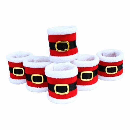 Santa Claus Napkin Rings 6 Pcs Set Christmas Towel Holder Dinner Table Tableware