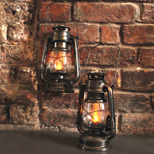 2x Solar Powered Vintage Bronze Miners Lanterns Hanging Garden Camping Lights
