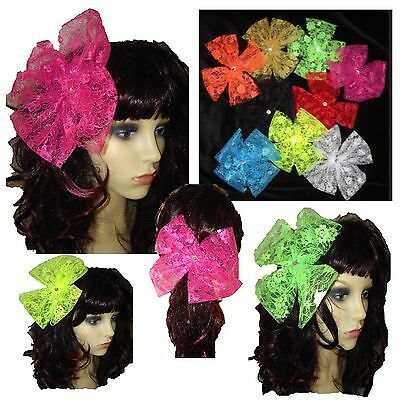 80s Neon Flo Lace Bow Large Lace Bow - Ideal Hen Party, 80s Pop Star Neon Colour