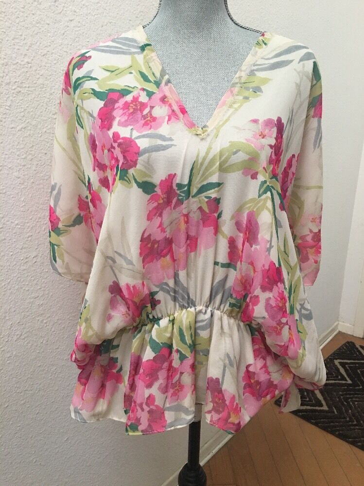 Elizabeth And James Weiß Rosa Grün Floral Silk Dolman Top Shirt Blouse Small S