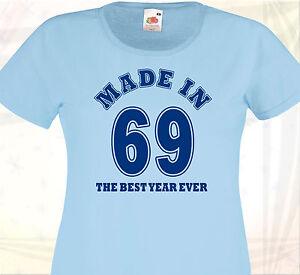 Sur Naissance In T Shirt Made 69 Cadeau Détails Femme De 1969 Date Anniversaire Birthday rhQtdCs