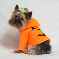 Xxxs Halloween Pumpkin Fleece Dog Hoodie Clothes Shirt Pet Apparel Pc Dog®
