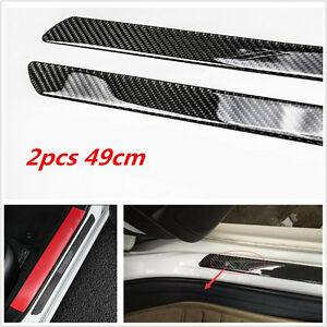 2Pc Car Carbon Fiber Door Sill Scuff Plate Cover Panel Step Protector Universal