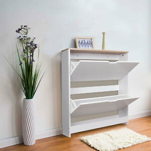TopHomer Wood Shoe Storage Cabinet 2 Drawer Footwear Stand Rack ...