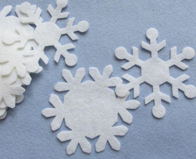 """10 White 4"""" Snowflake Wool Blend Felt Die Cut"""