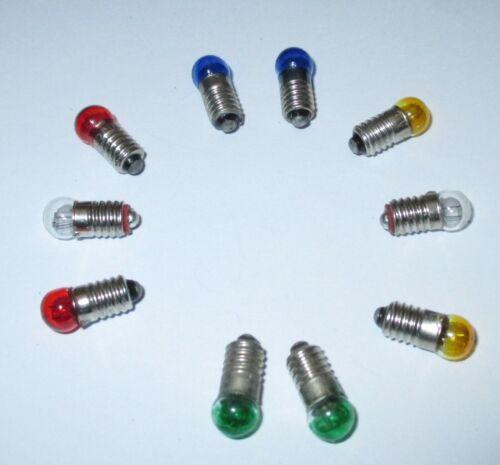 """Farbe nach Wahl 10 x  /""""NEU/"""" Farbig E5.5-3,5V Ersatzlampen 6mm Kugel"""
