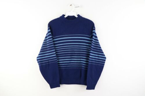 Vintage 60s Mens XS Long Sleeve Striped Knit Mock