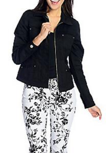 3a32704bffc654 OSO Casuals® Stretch Denim Jean Zip Front Jacket L BLACK EVINE ...