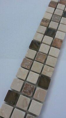 NEU Naturstein Mosaik Bordüre Marmor Braun//Creme 5x30 cm Fliesen Sockelleiste