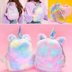 Cute-Women-Girls-Fluffy-Unicorn-Backpack-Plush-School-Rucksack-Zipper-Bag
