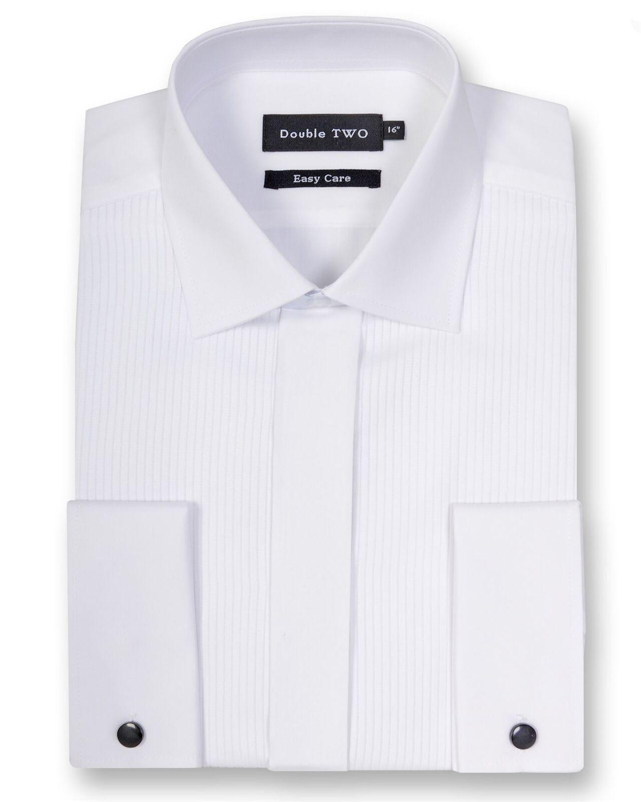Double Two Herren Weiß Gerippt Piquet Abendkleid Hemd (5003)