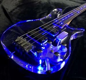 4 strings led light electric bass guitar frets light guitar acrylic body blue 6799681186953 ebay. Black Bedroom Furniture Sets. Home Design Ideas