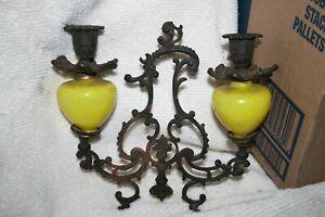 Antique-Cast-Iron-Butterscotch-Yellow-Art-Glass-Candleabra-Top