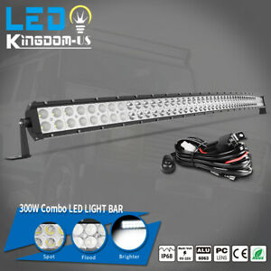 52'' inch Curved LED Light Bar Spot Flood Combo Offroad Driving Roof Truck 4WD