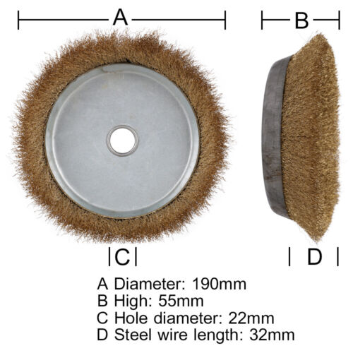 """4.7/"""" 8/"""" Crimped Copper Steel Wire Wheel Brush Cup for Paint Removal 7//8/"""" Bore"""