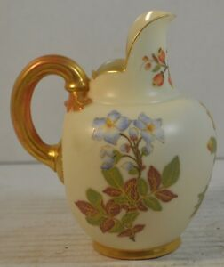 Antique-Royal-Worcester-Porcelain-Pitcher-or-Ewer-with-Flowers