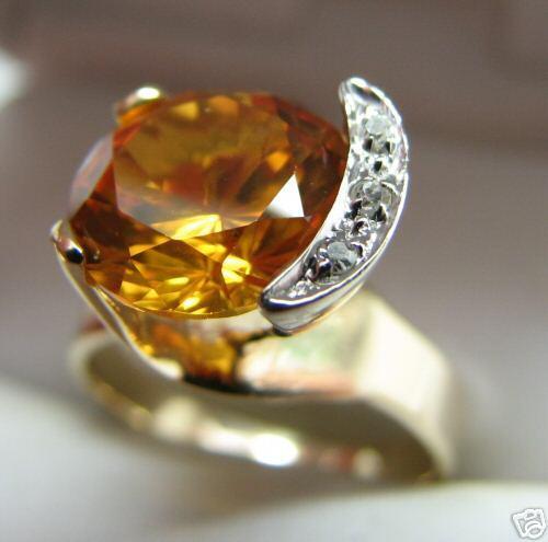 DAZZLING  DESIGN 14K gold CITRINE DIAMONDS RING