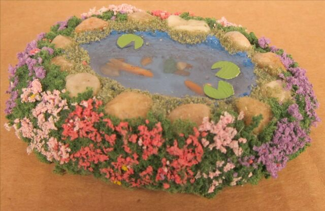Dollhouse Miniature Fish Pond Garden Small Pond With Garden